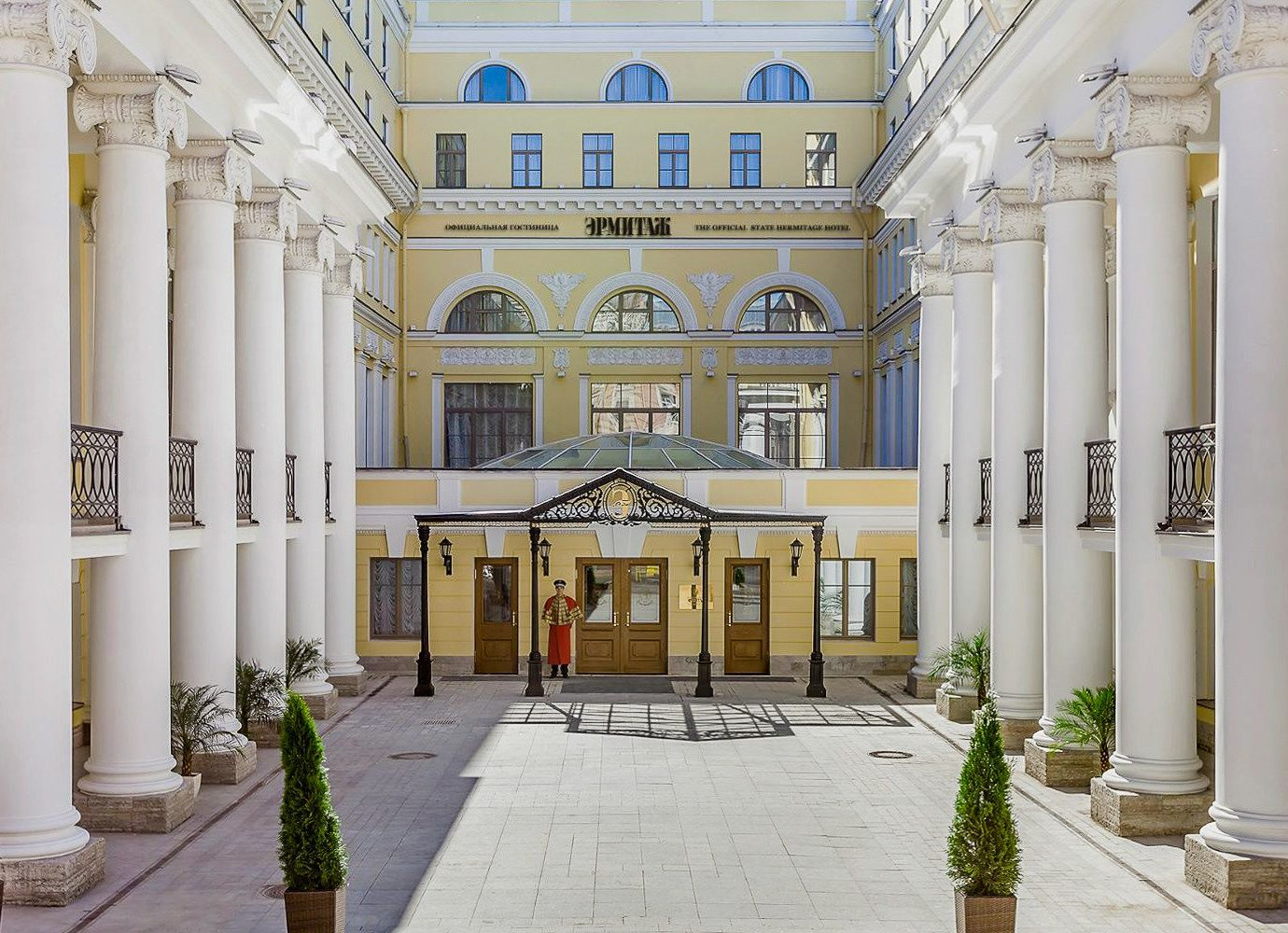 Arts + Culture Hotels Jetsetter Guides Luxury Travel property building classical architecture column structure Courtyard palace arcade mansion colonnade