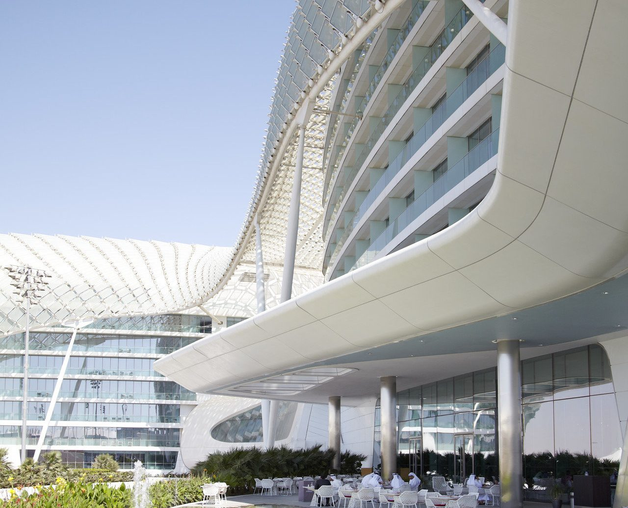 Hotels sky outdoor building structure Architecture sport venue headquarters skyway stadium facade convention center day