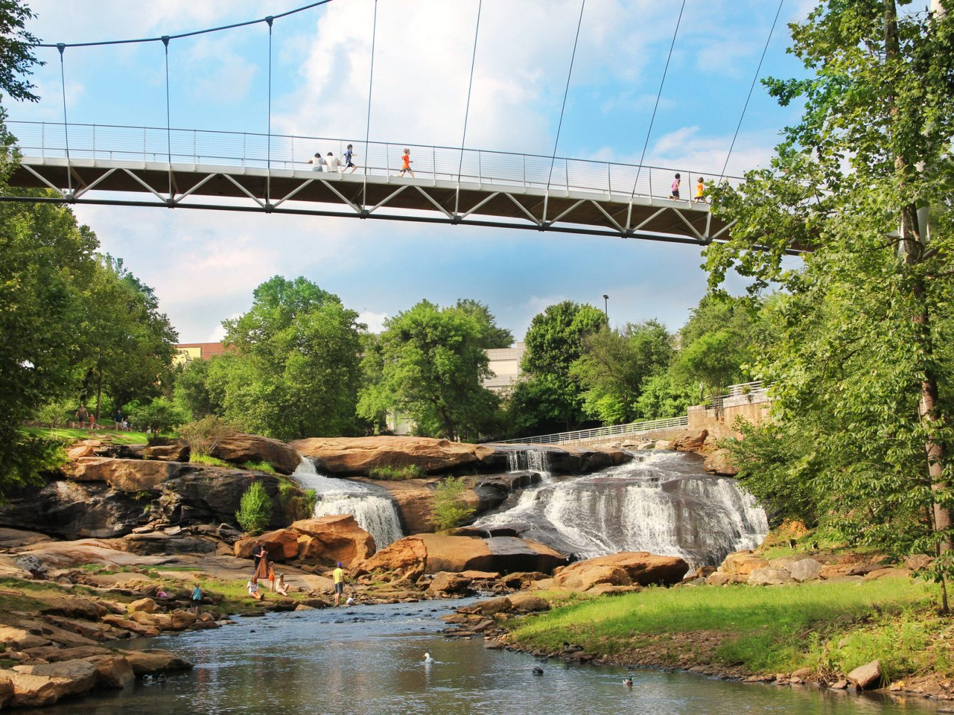 bridge calm Garden Greenery leaves Nature Outdoors park people remote River Rocks rushing water serene stream trees Trip Ideas Waterfall Waterfalls tree outdoor sky water water feature nonbuilding structure arch bridge reservoir traveling Forest surrounded