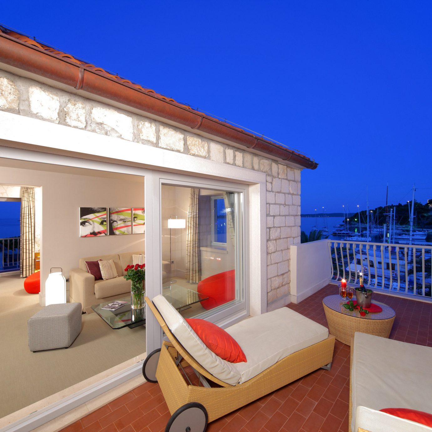 Balcony Deck Outdoors Scenic views Suite Waterfront property house Villa home condominium Resort cottage living room mansion