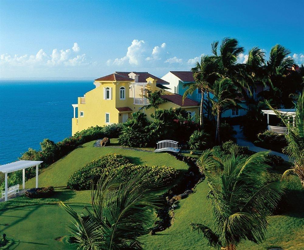 sky tree property Resort caribbean arecales Sea tropics Coast Villa mansion Beach Island cape Jungle plant lush day