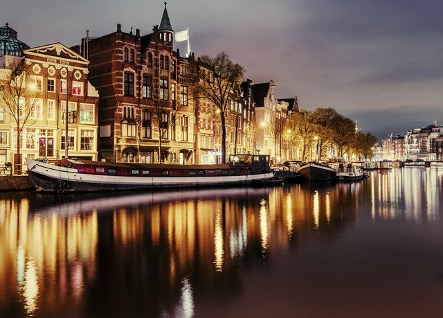 water sky Boat River scene Canal cityscape night waterway Town evening morning dusk Harbor vehicle dock traveling