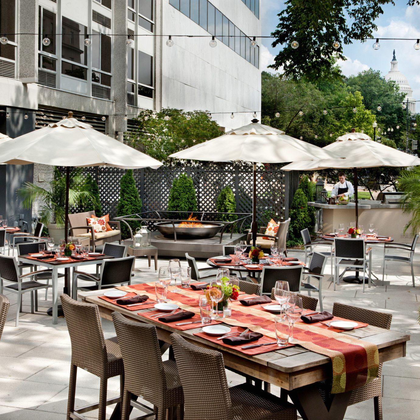 Boutique City Deck Dining Drink Eat Modern Patio tree restaurant set