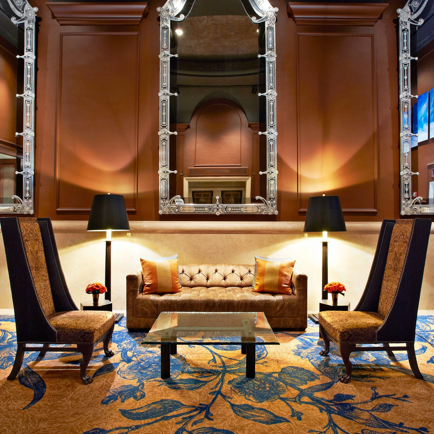 Boutique City Lobby Lounge Modern living room property home hardwood Suite Fireplace flooring recreation room mansion