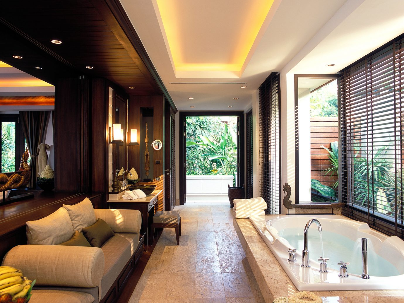 Bath Beach Elegant Hip Hotels Luxury Modern Phuket Thailand indoor window Living sofa floor room ceiling property estate swimming pool Suite condominium living room home interior design Resort real estate mansion furniture Villa Design Lobby decorated stone