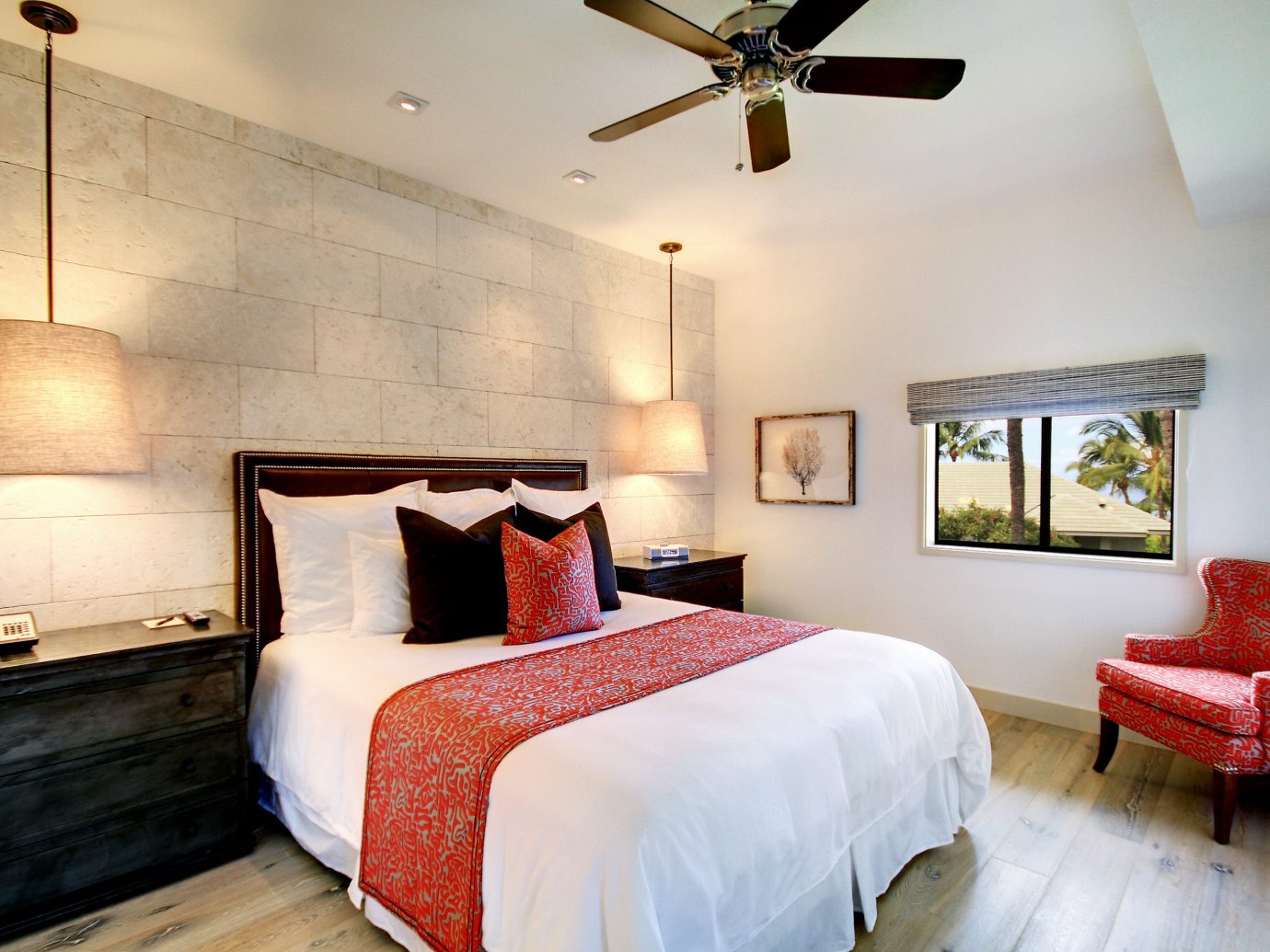 Beach Bedroom Boutique Hotels Classic Hotels Island Luxury Travel Romance Scenic views Suite bed indoor wall floor room property hotel building estate red cottage home real estate interior design farmhouse Villa apartment
