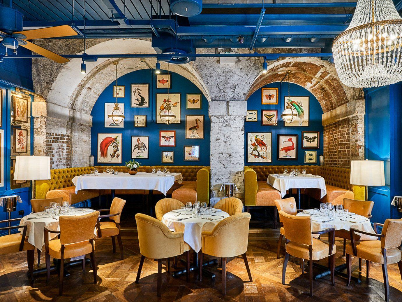 Food + Drink London floor indoor chair interior design restaurant furniture blue
