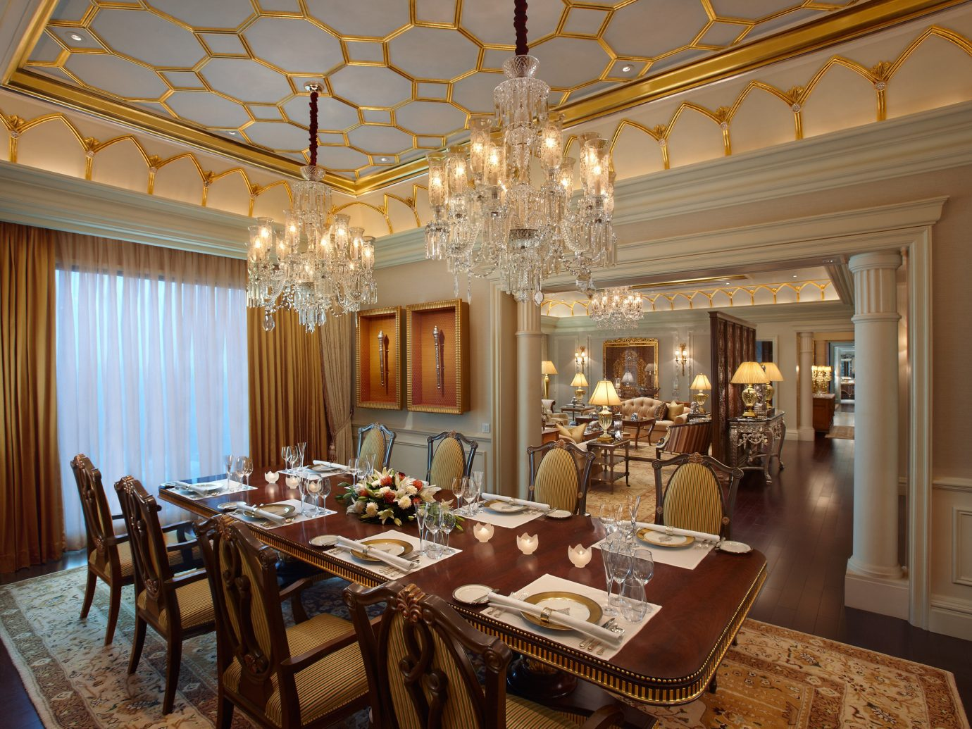 Hotels Luxury Travel indoor table floor ceiling dining room chair room window interior design home Dining estate real estate function hall restaurant living room furniture dining table several