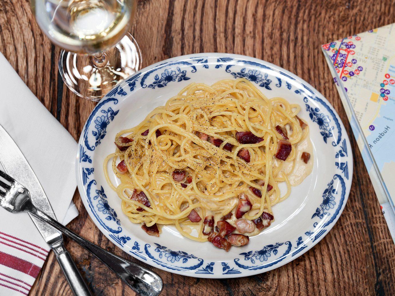 Budget plate table food cup coffee spaghetti cuisine dish carbonara italian food pici fork bucatini produce european food breakfast meal pasta