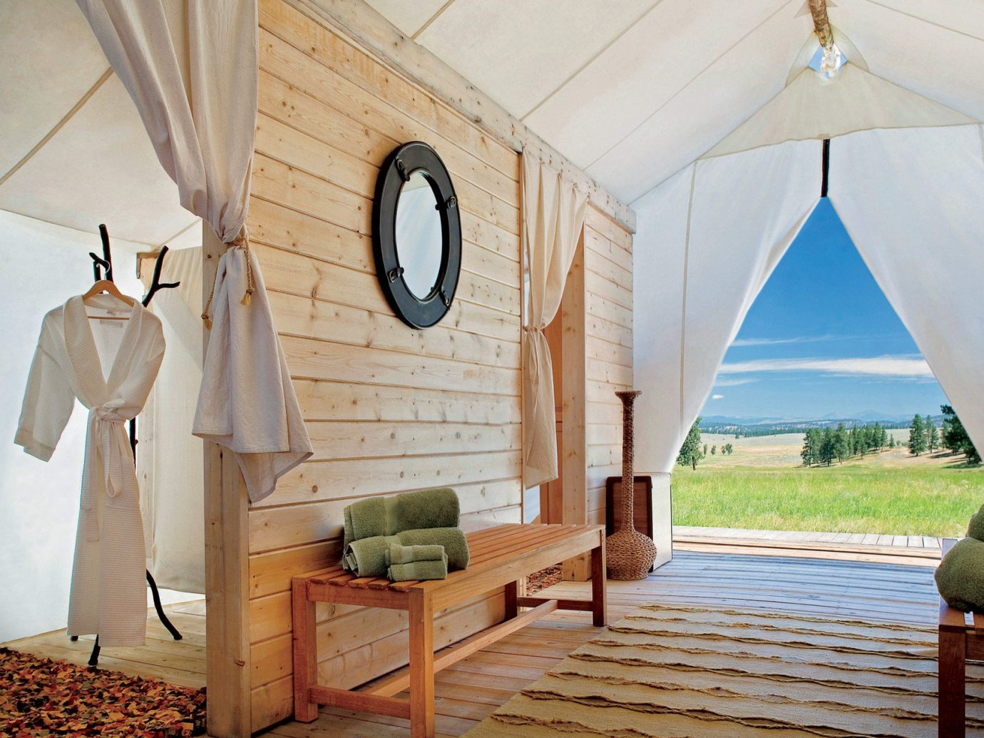 Glamping Luxury Travel Outdoors + Adventure Trip Ideas Weekend Getaways indoor room house Architecture home estate interior design cottage wood farmhouse Villa arch furniture