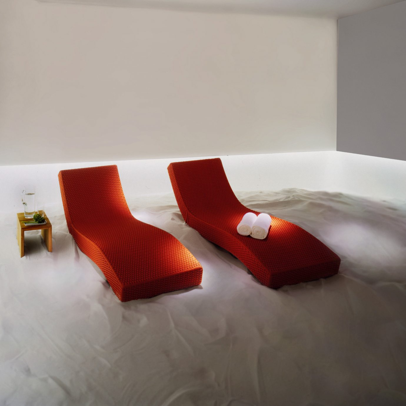City Modern Spa Wellness red white product flooring pillow