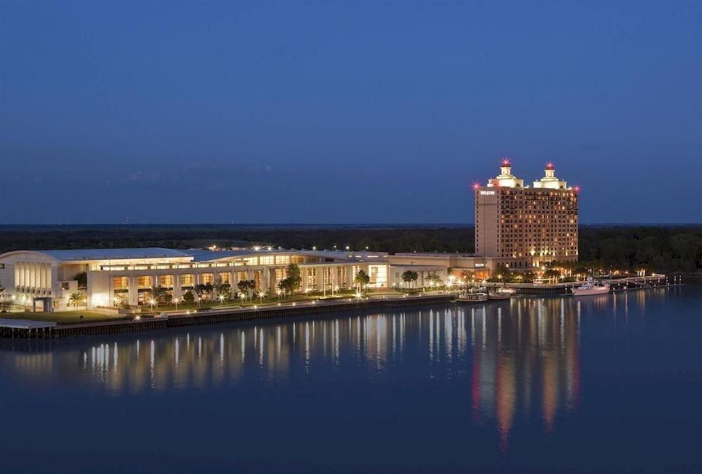 water sky landmark horizon night dusk Sea evening cityscape skyline tower Coast panorama Harbor