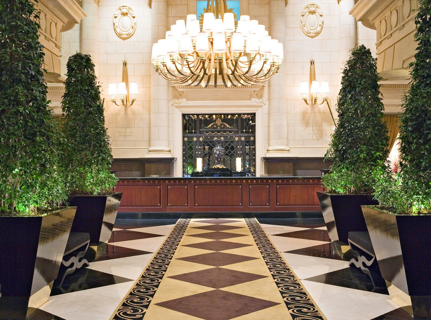 Elegant Lobby Modern tree palace mansion home Courtyard aisle ballroom plant flooring