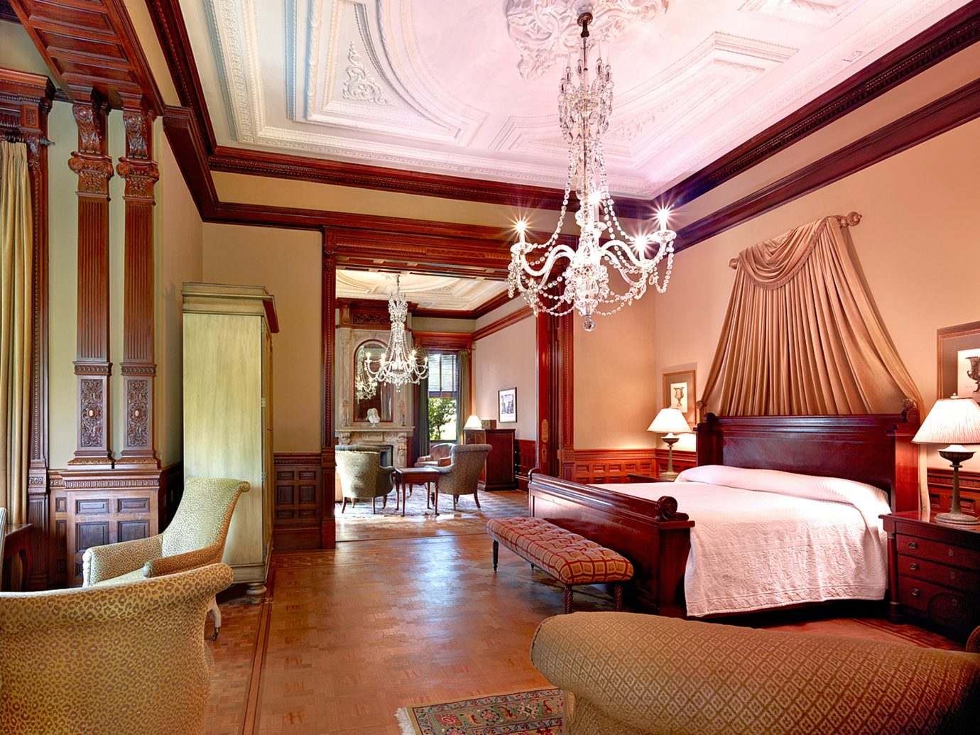 Bedroom Elegant Historic Hotels Modern Suite indoor room floor wall Living property living room estate home interior design real estate mansion furniture ceiling cottage decorated