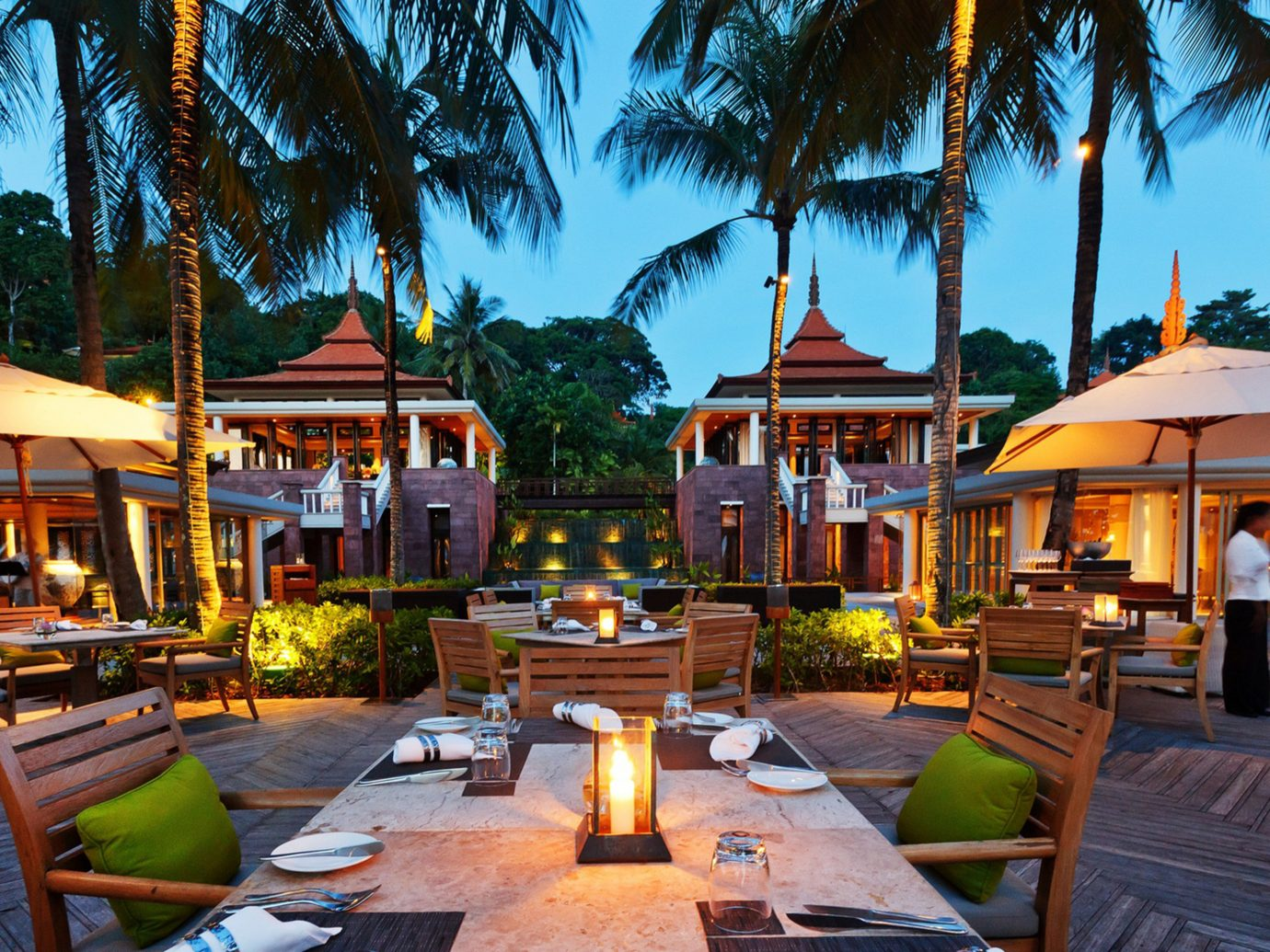 Bar Beach Dining Drink Eat Hotels Phuket Thailand Tropical tree outdoor leisure Resort estate vacation home restaurant real estate Village set lined furniture several
