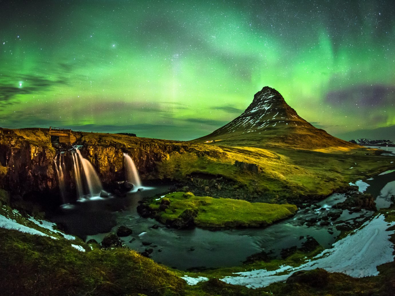 Travel Tips Nature aurora Waterfall atmosphere water reflection