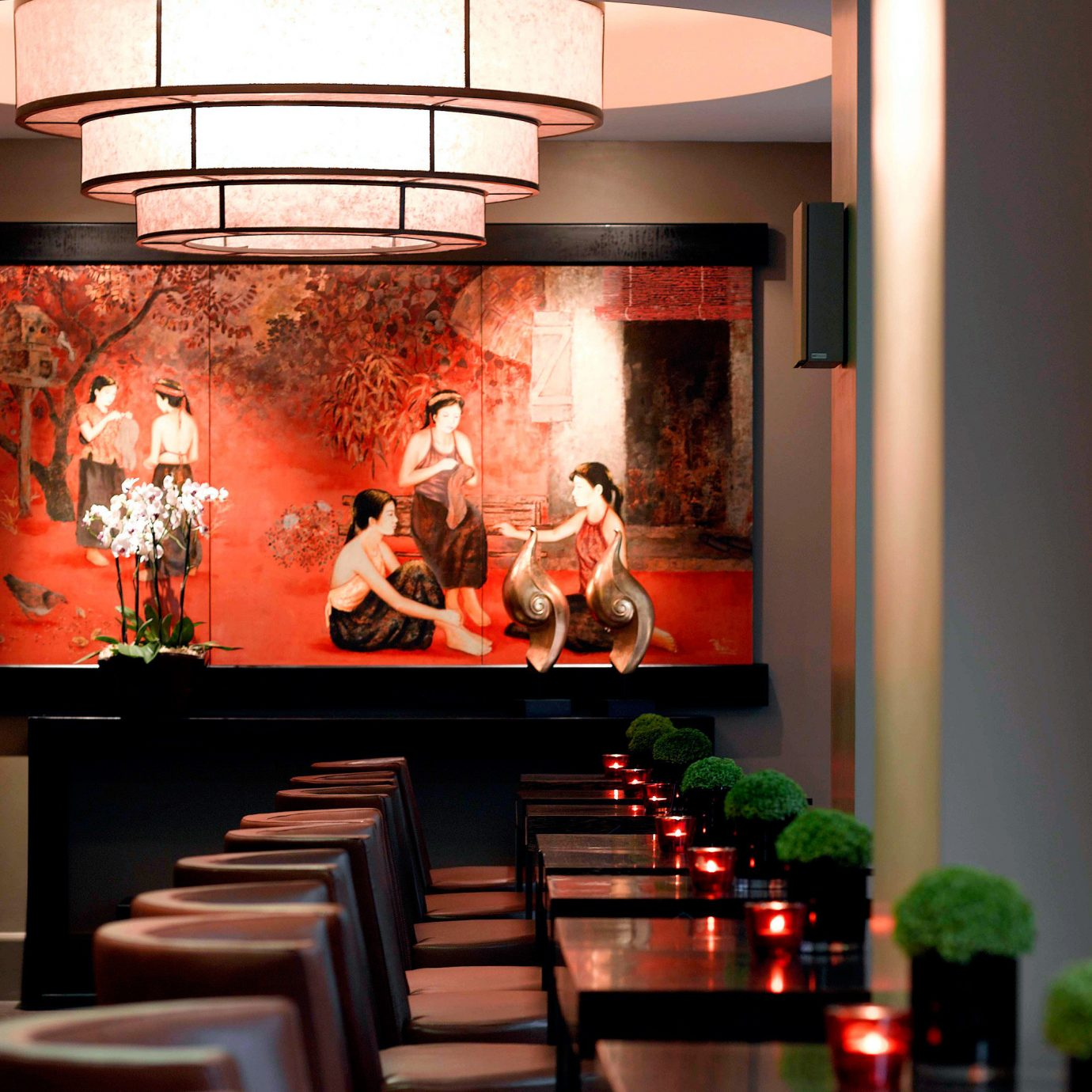 Dining Drink Eat Elegant Historic Modern red lighting restaurant