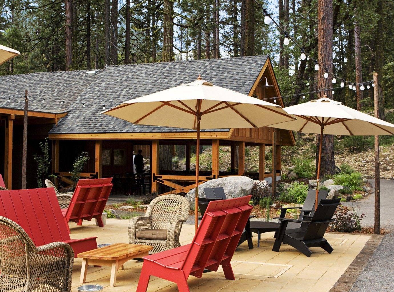 tree chair ground Picnic gazebo cottage outdoor structure backyard home tent Resort restaurant Patio Dining canopy set