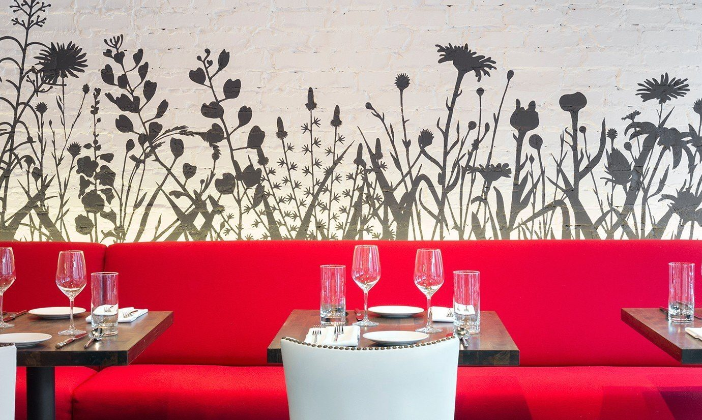Food + Drink red wall restaurant Design interior design modern art table
