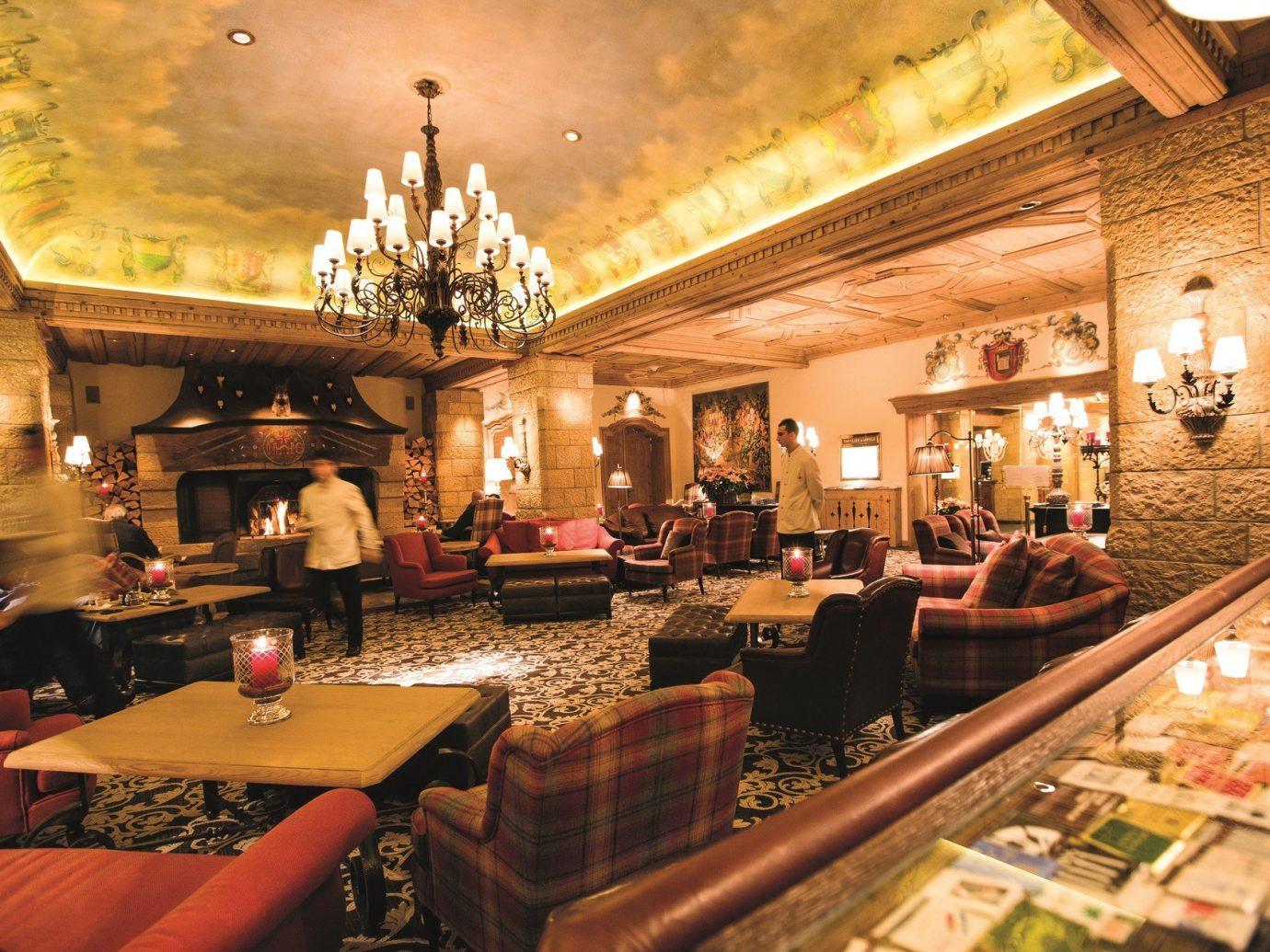 Hotels indoor ceiling room restaurant estate meal Bar area furniture several