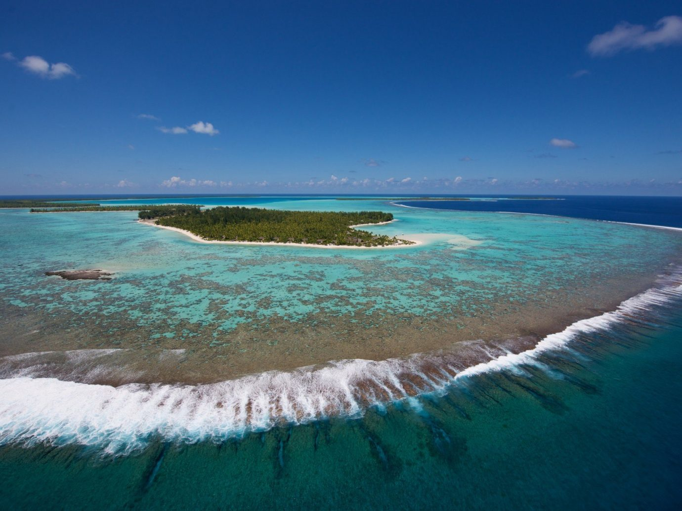 aerial view of The Brando, French Polynesia