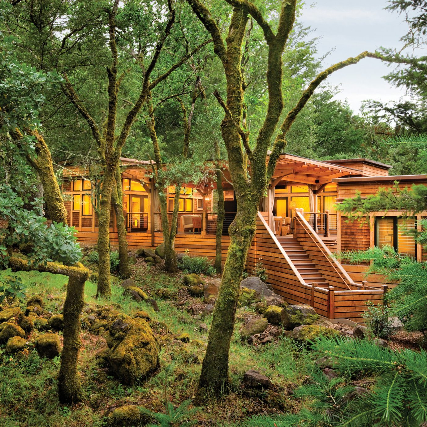 Eco Exterior Food + Drink Health + Wellness Hotels Luxury Outdoors Ranch Romance Romantic Rustic Spa Retreats Trip Ideas Wellness tree grass park Forest plant Jungle rural area log cabin woodland hut Garden outdoor structure rainforest lush wooded surrounded shade