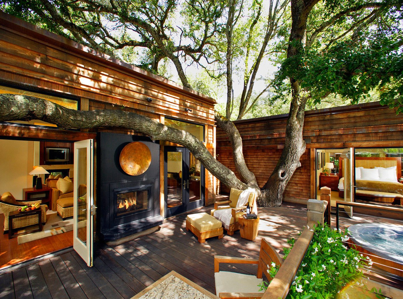 Eco Grounds Luxury Outdoors Ranch Romance Romantic Rustic Suite Wellness tree property building Resort house home restaurant log cabin cottage Villa hacienda mansion