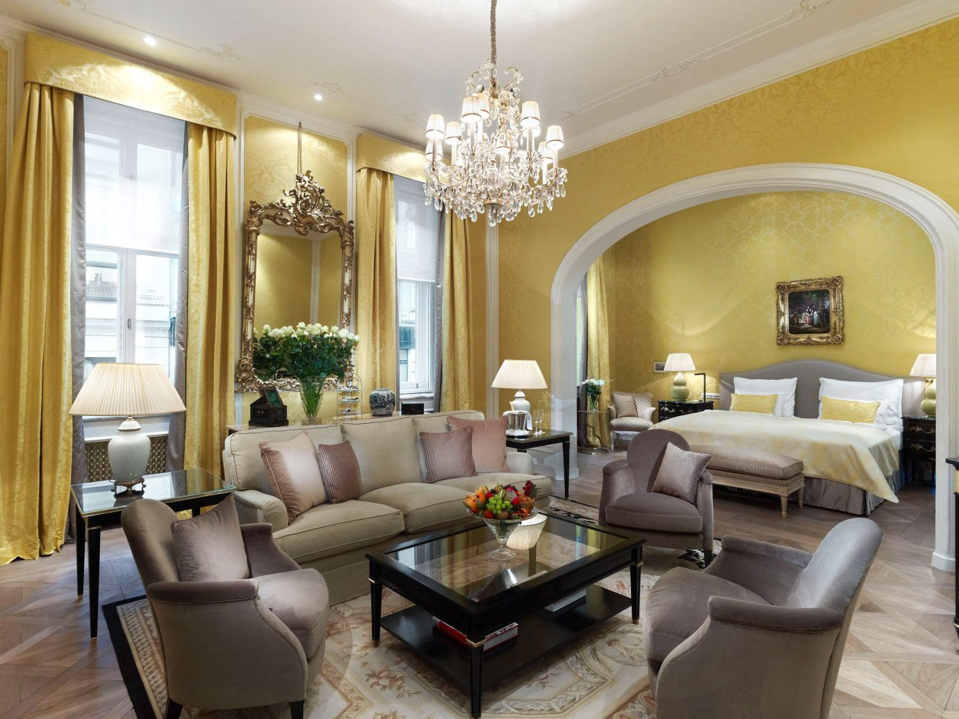 Elegant Historic Hotels Living Lounge Luxury indoor floor room sofa wall window living room property ceiling furniture estate home real estate interior design condominium Suite mansion dining room Villa area leather decorated