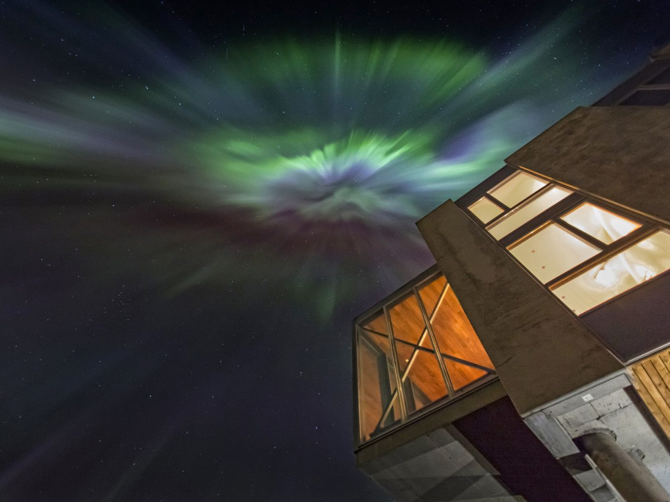 Architecture Boutique building calm contemporary Exterior Hotels isolation lights Luxury majestic Modern Nature Night Sky northern lights Outdoors remote serene sky Style + Design view color atmosphere light night atmosphere of earth darkness reflection screenshot aurora space star outer space sunlight