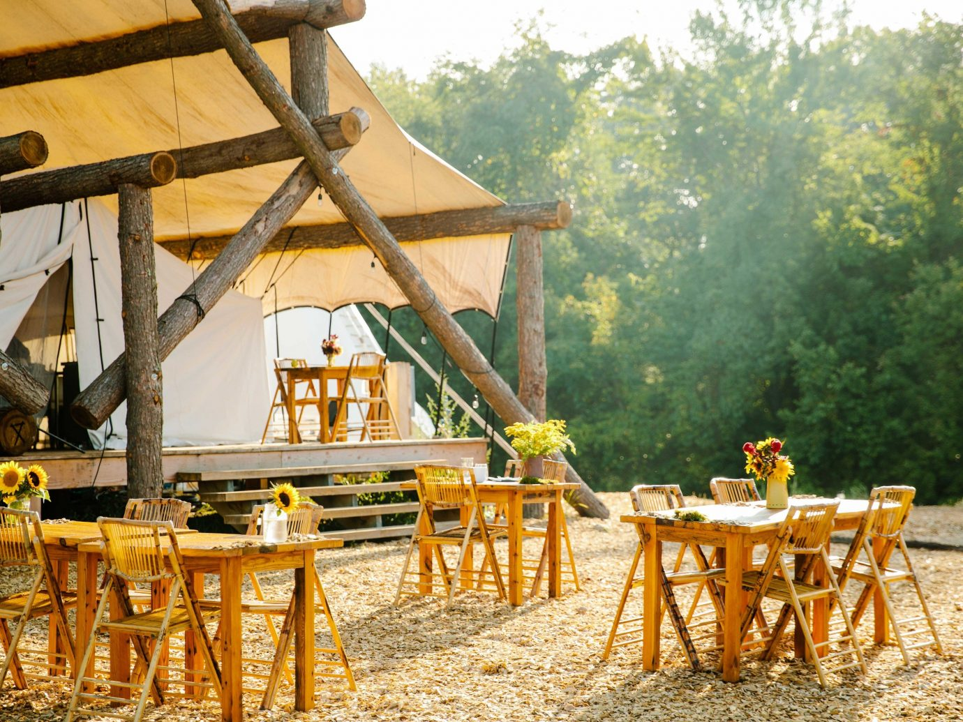 Glamping Luxury Travel New York Trip Ideas yellow wood tree outdoor structure recreation plant landscape