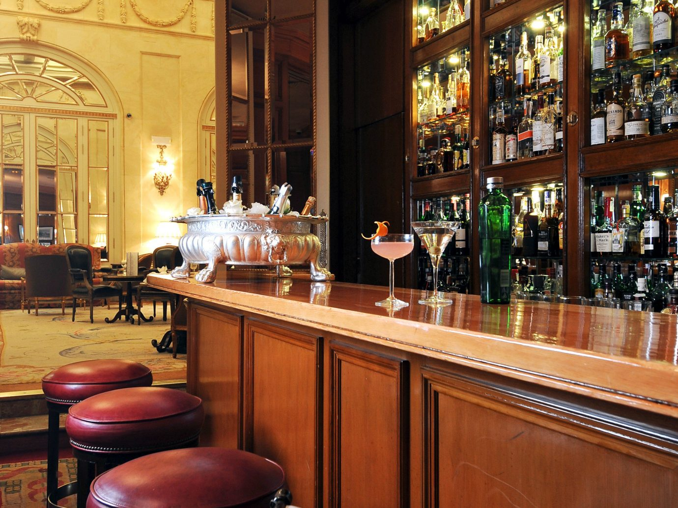 Bar Dining Drink Eat Elegant Historic Hotels Madrid Spain indoor floor ceiling window room restaurant café interior design estate coffeehouse meal area furniture dining room