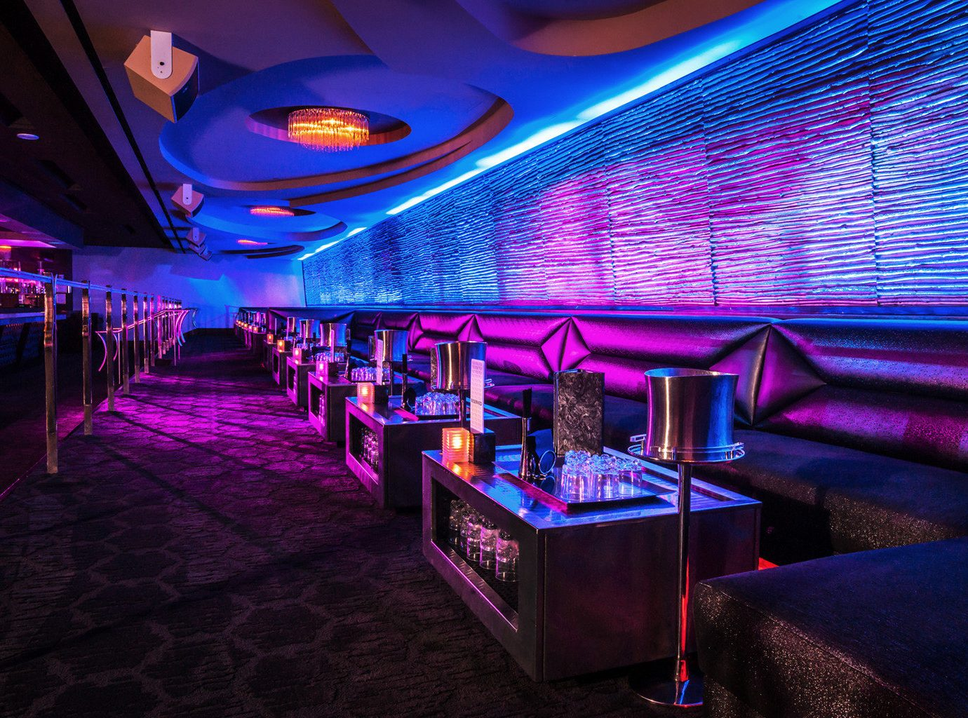 Bar Casino Drink Lounge Modern Nightlife Travel Trends Trip Ideas floor indoor nightclub room ceiling function hall music venue disco club purple furniture