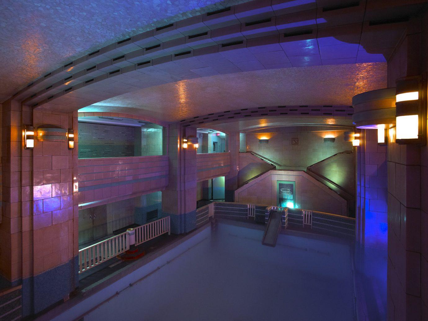 Hotels building ceiling light night lighting swimming pool interior design platform subway