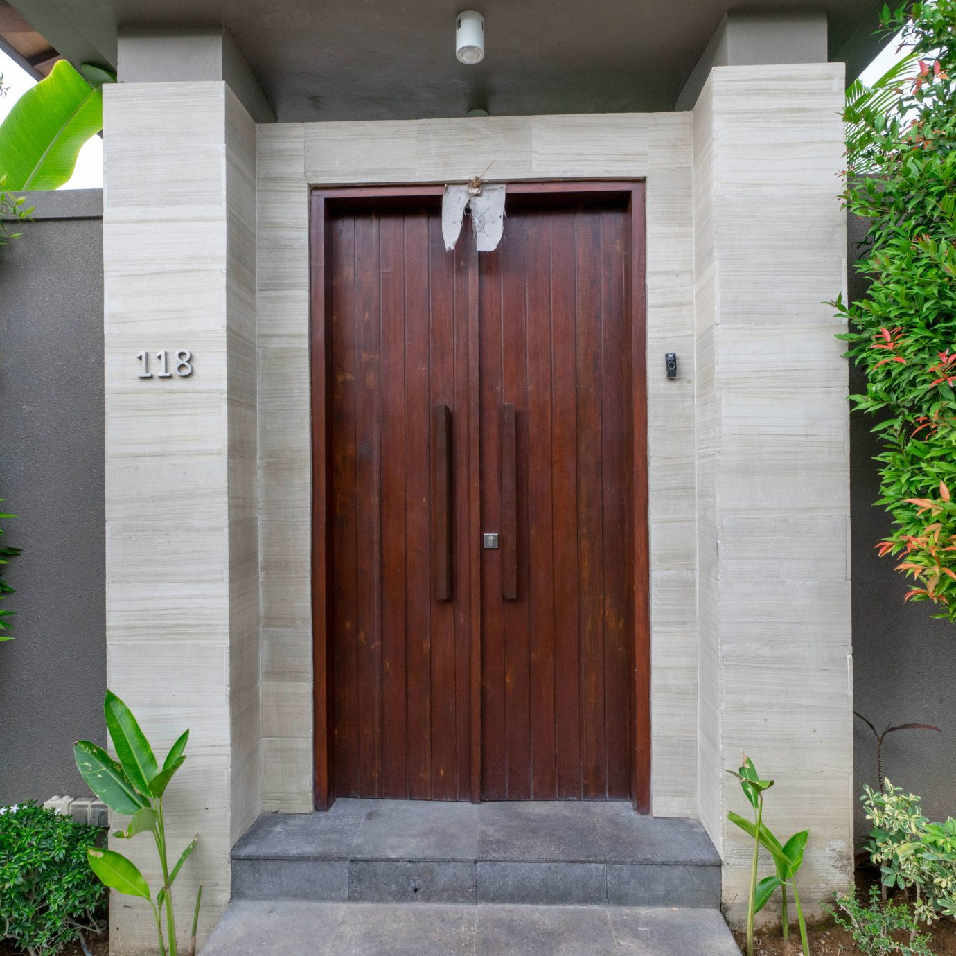 tree plant building property door house shed home green cottage outdoor structure Garden