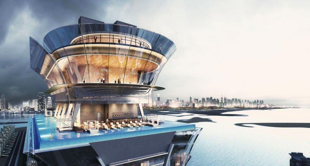 Offbeat sky water outdoor Boat vehicle passenger ship ship cruise ship watercraft tower dock