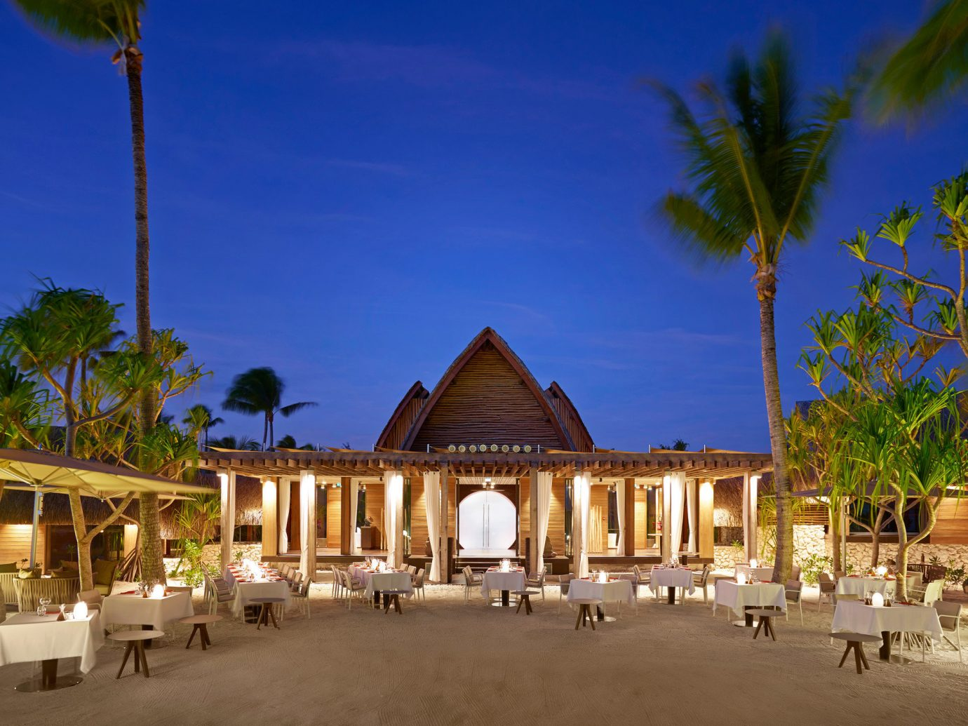 Outdoor dining at The Brando, French Polynesia