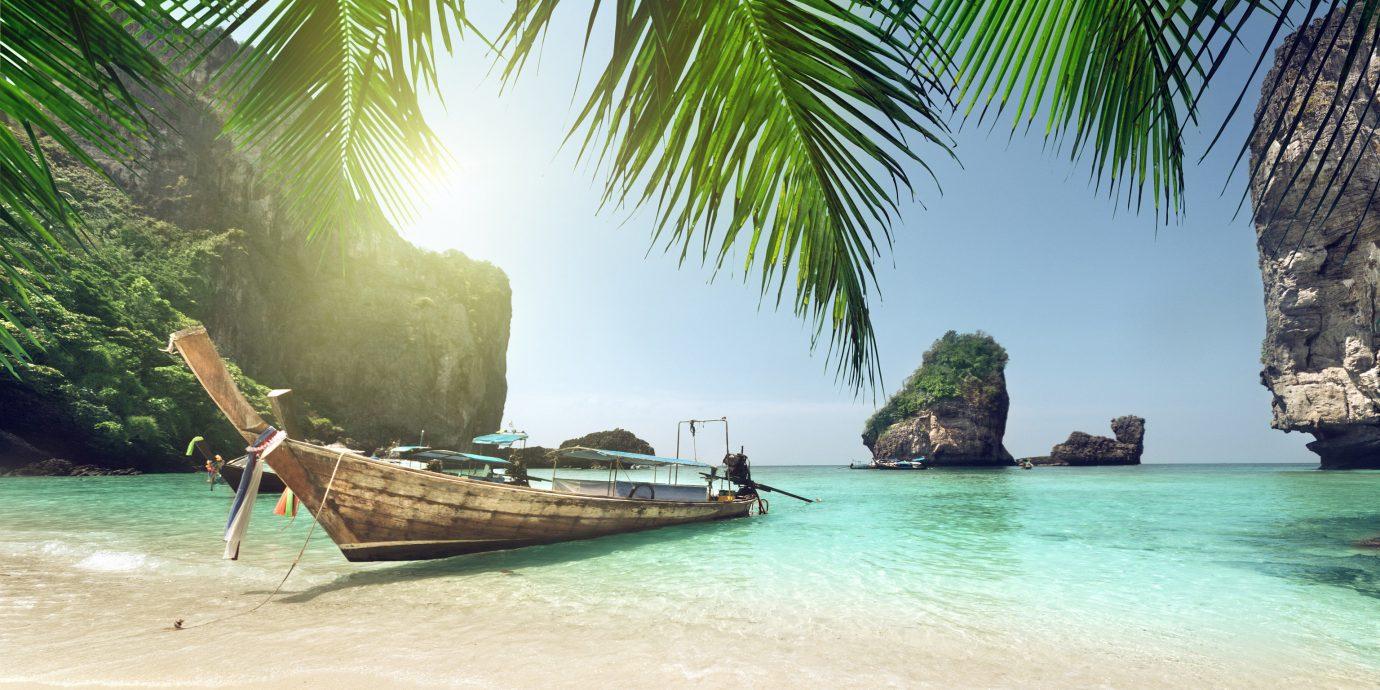 beautiful sandy shore and boat Maya Bay, Koh Phi Phi