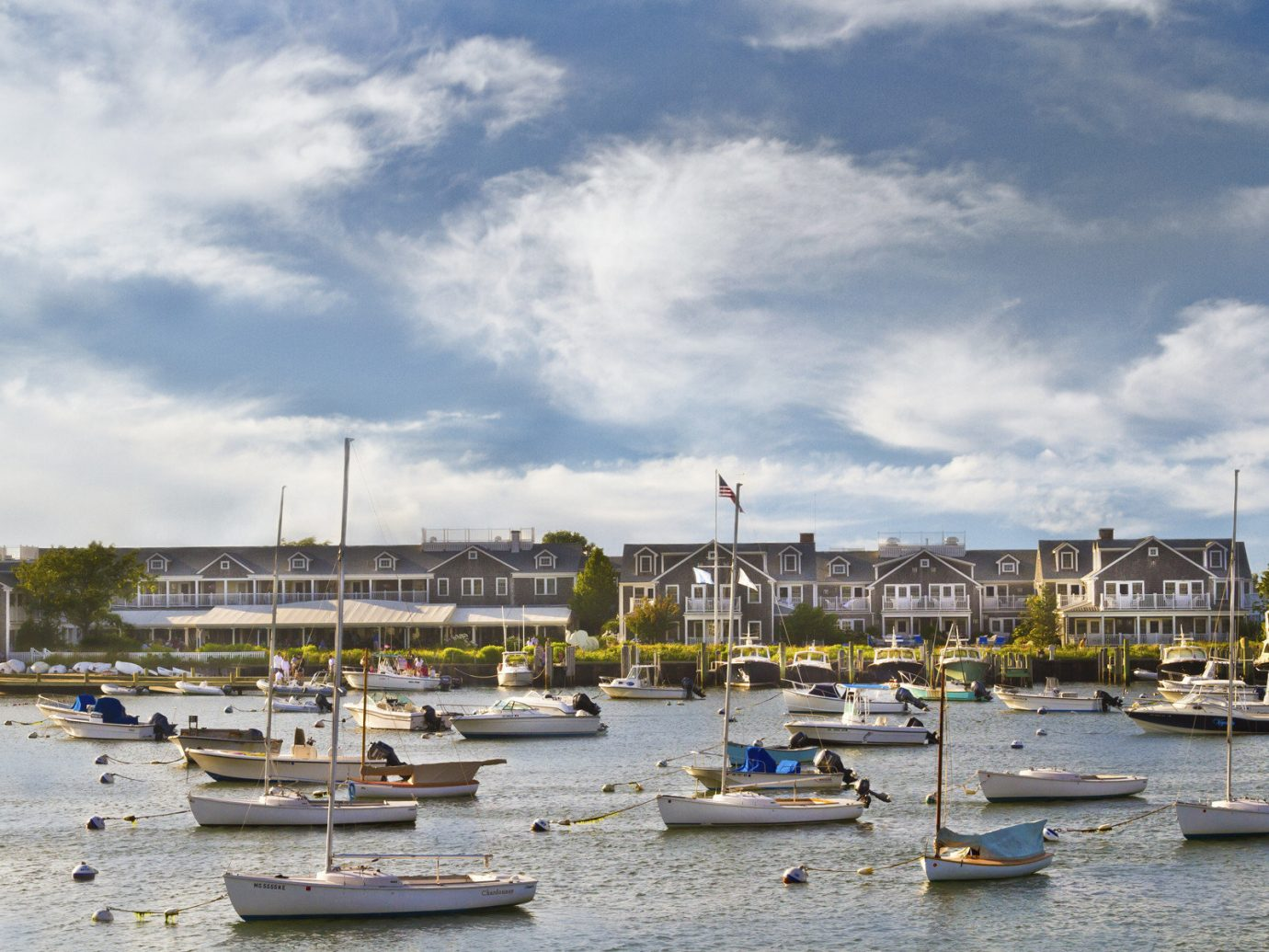 View of Nantucket Rhode Island from the harbor