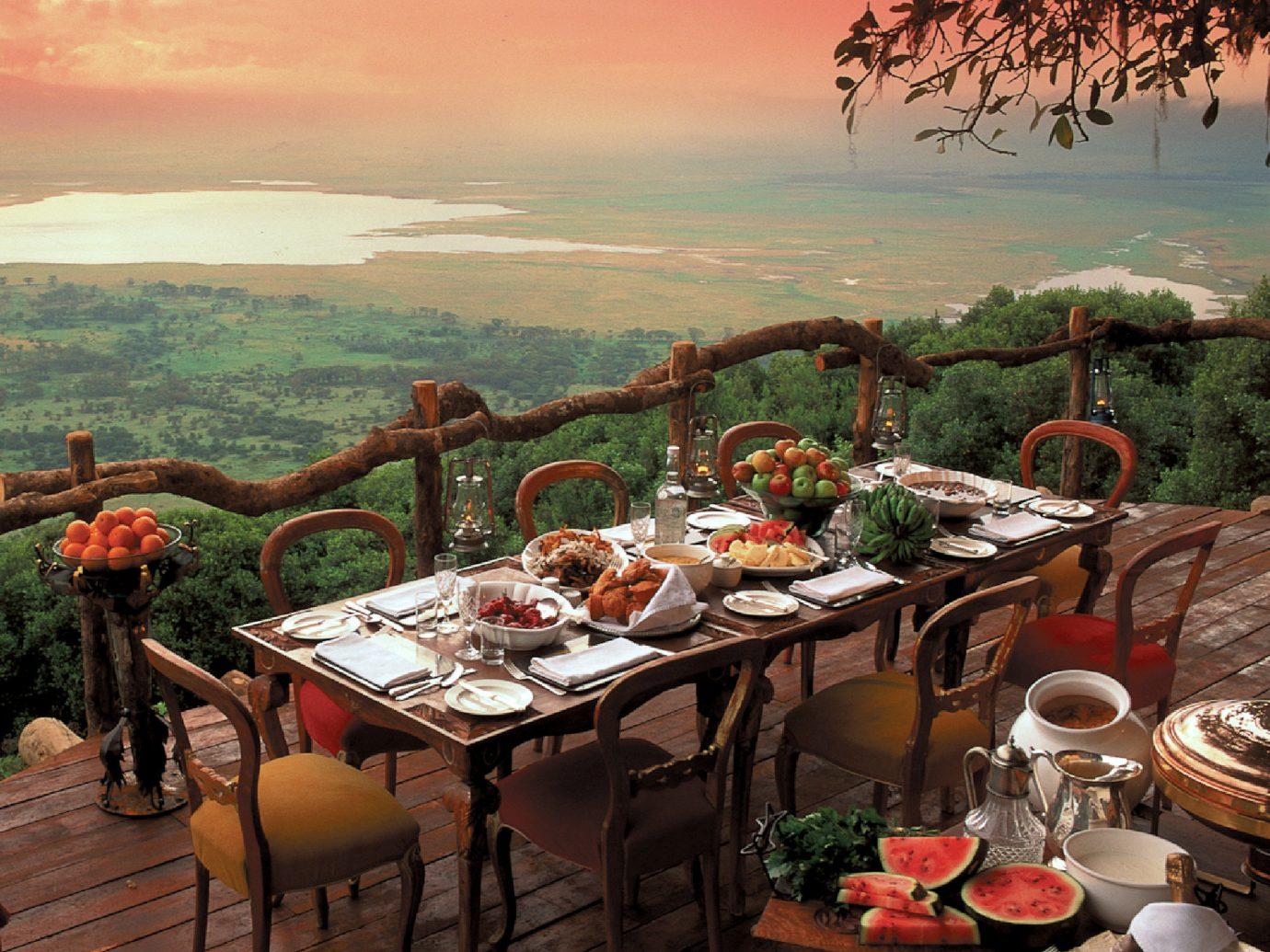 Food + Drink sky outdoor flower evening meal overlooking restaurant set