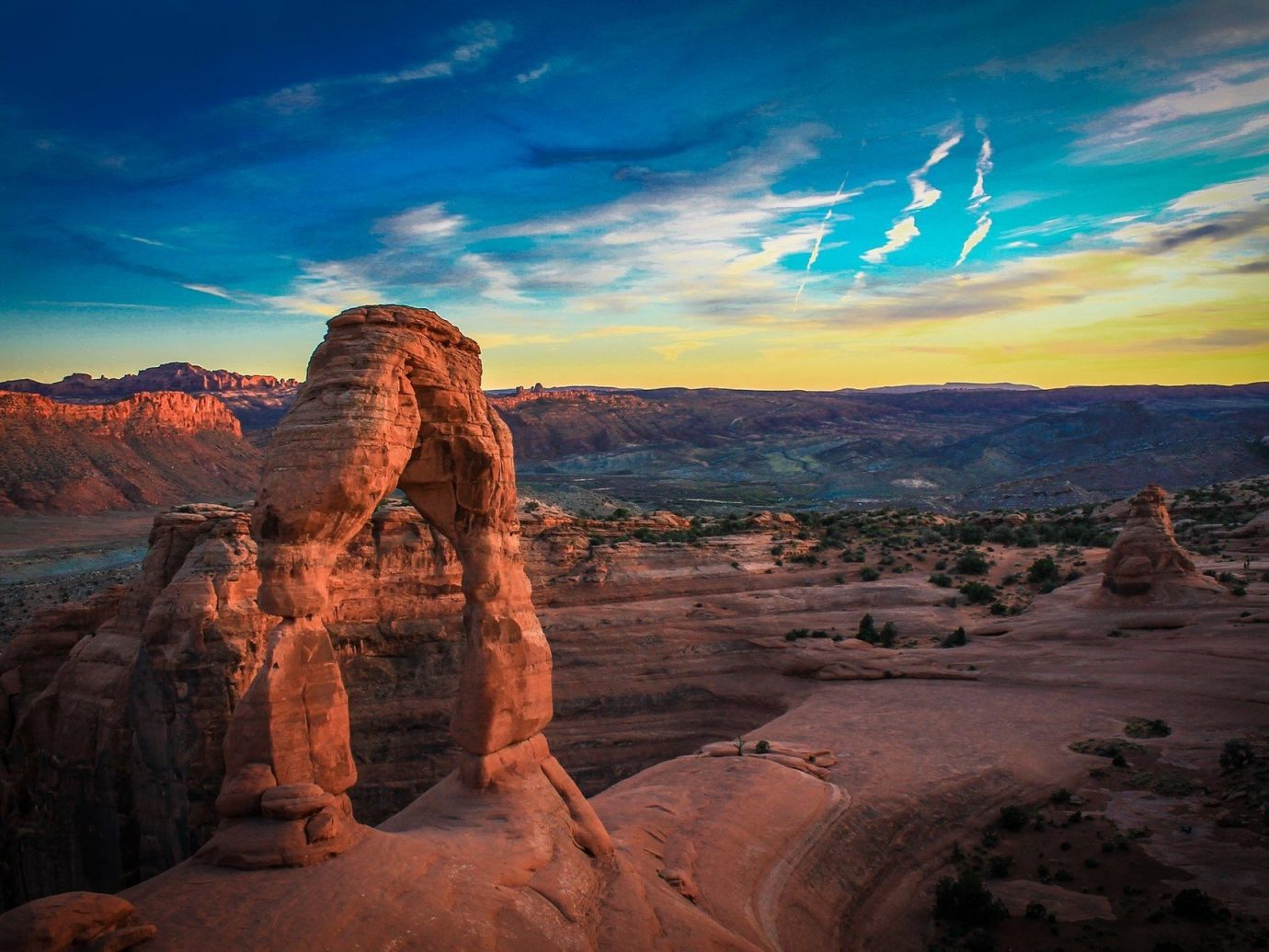 calm canyon colorful Desert Hotels isolation red rock remote rock Rocks Scenic views serene Sunset Trip Ideas Weekend Getaways sky Nature valley outdoor mountain geographical feature landform natural environment badlands butte sunrise landscape wadi arch plateau formation geology dusk terrain material