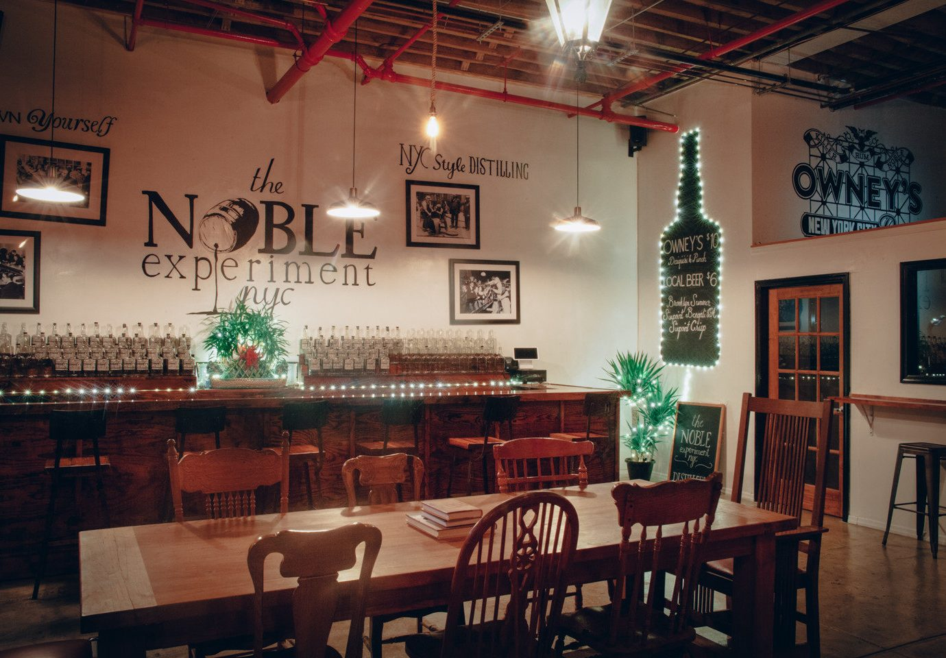 Brooklyn Food + Drink table indoor chair wall floor ceiling room Dining restaurant interior design Bar café dining room tavern furniture pub area coffeehouse dining table several