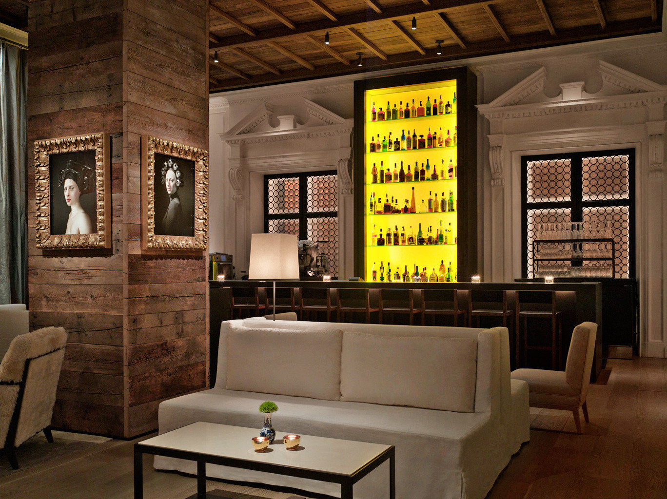 Bar Boutique Dining Drink Eat Food + Drink Historic Hotels Lounge Trip Ideas indoor Living floor room ceiling living room Lobby furniture interior design estate home lighting Design window covering area several