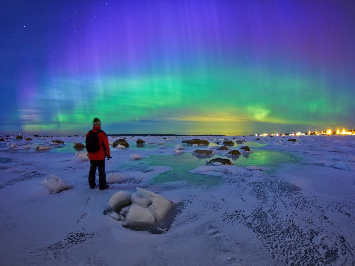 Offbeat water aurora weather atmosphere Nature arctic ice wave