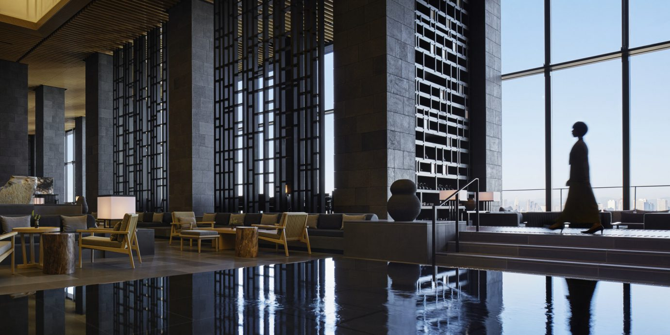 Hotels Japan Tokyo indoor Architecture reflection interior design lighting wood facade tourist attraction symmetry Design professional headquarters