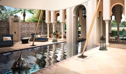 Hotels property indoor swimming pool estate Villa Resort floor hacienda mansion Courtyard home interior design real estate condominium
