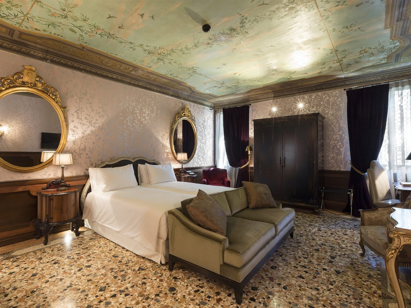 Hotels Italy Luxury Travel Venice indoor wall floor room ceiling Suite interior design estate hotel living room Bedroom furniture