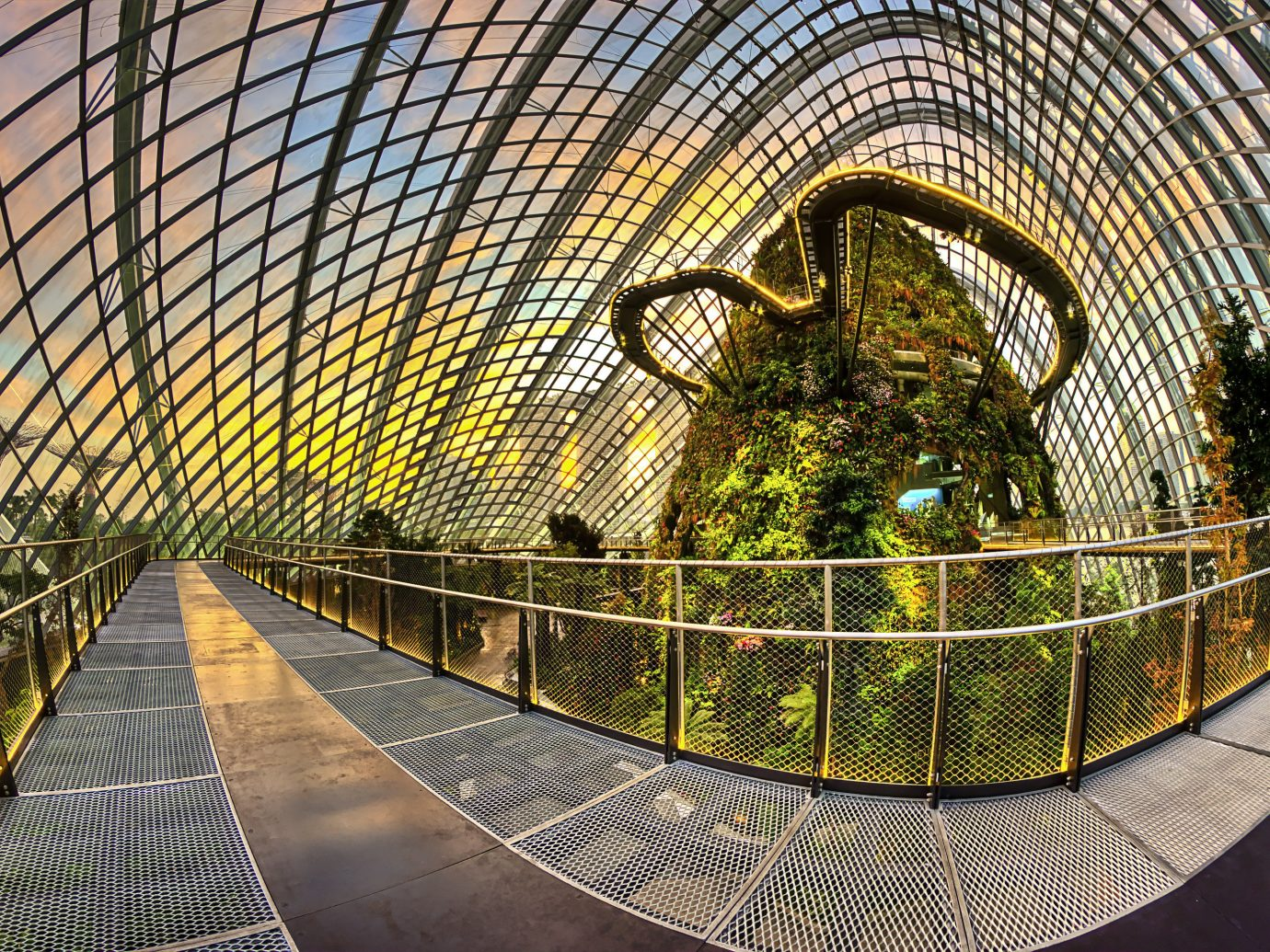 Offbeat Singapore Trip Ideas platform building metal rail urban area Architecture symmetry arch stair net subway railing walkway