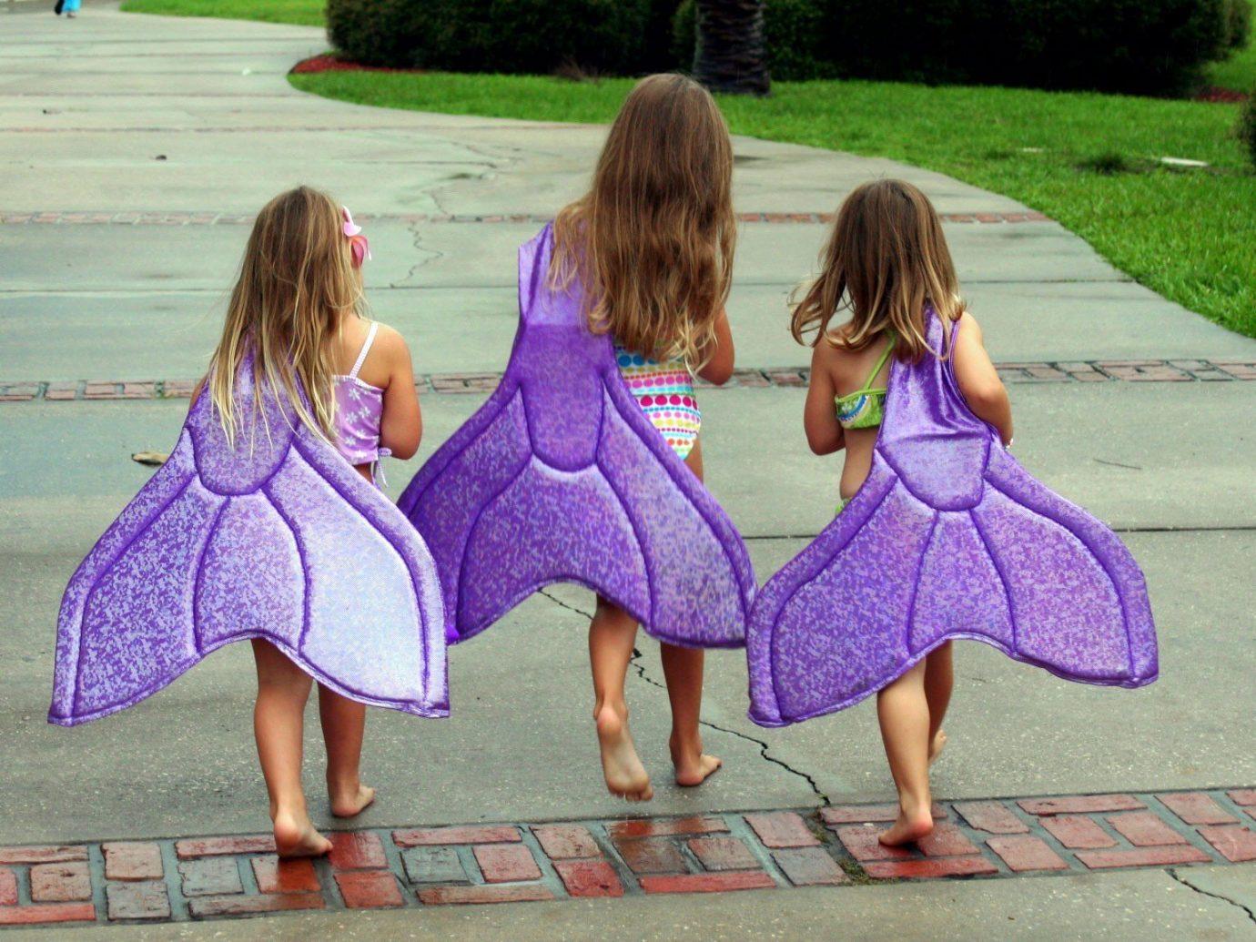 Trip Ideas outdoor grass ground person girl little people dress child purple