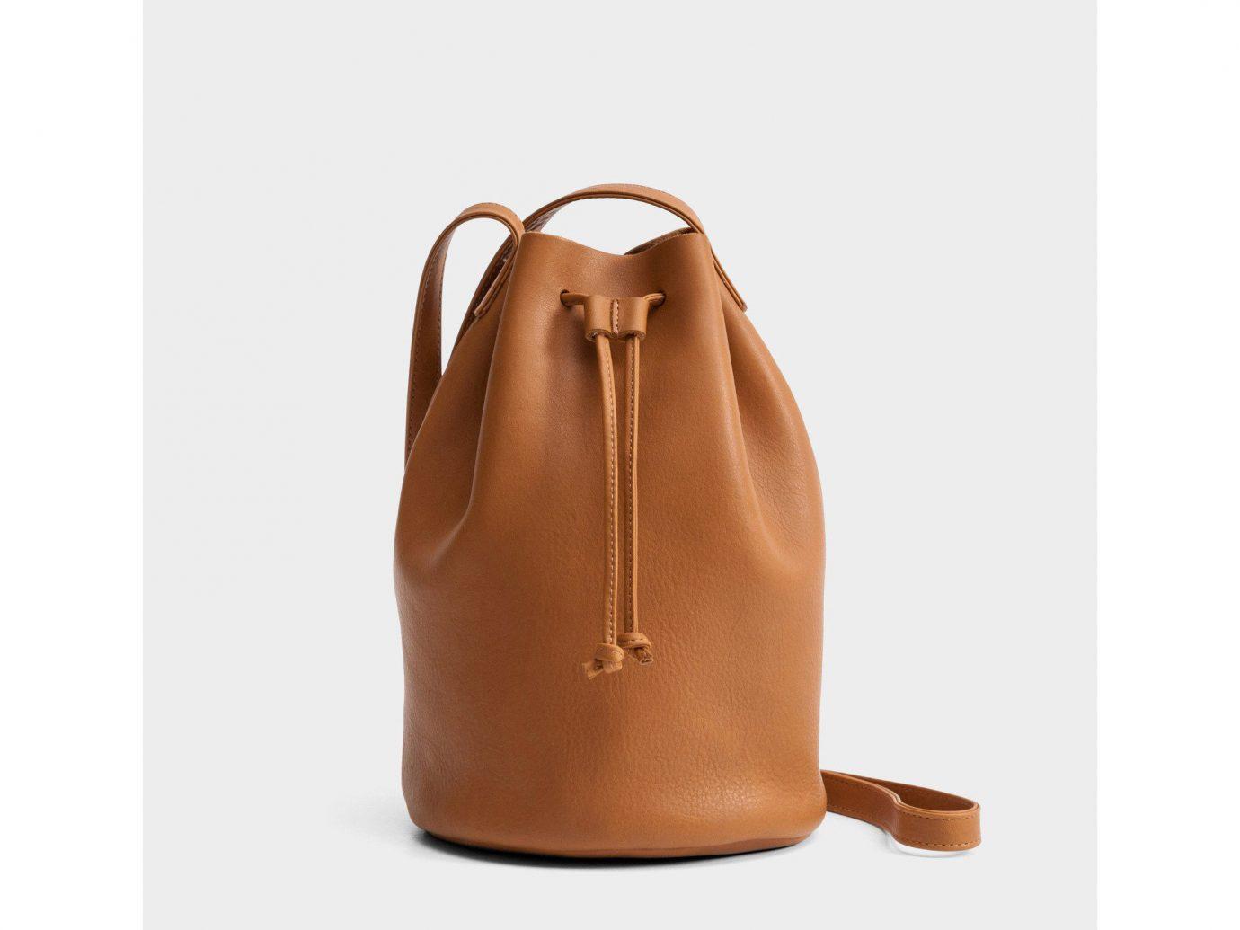 Style + Design brown bag product leather handbag caramel color product design