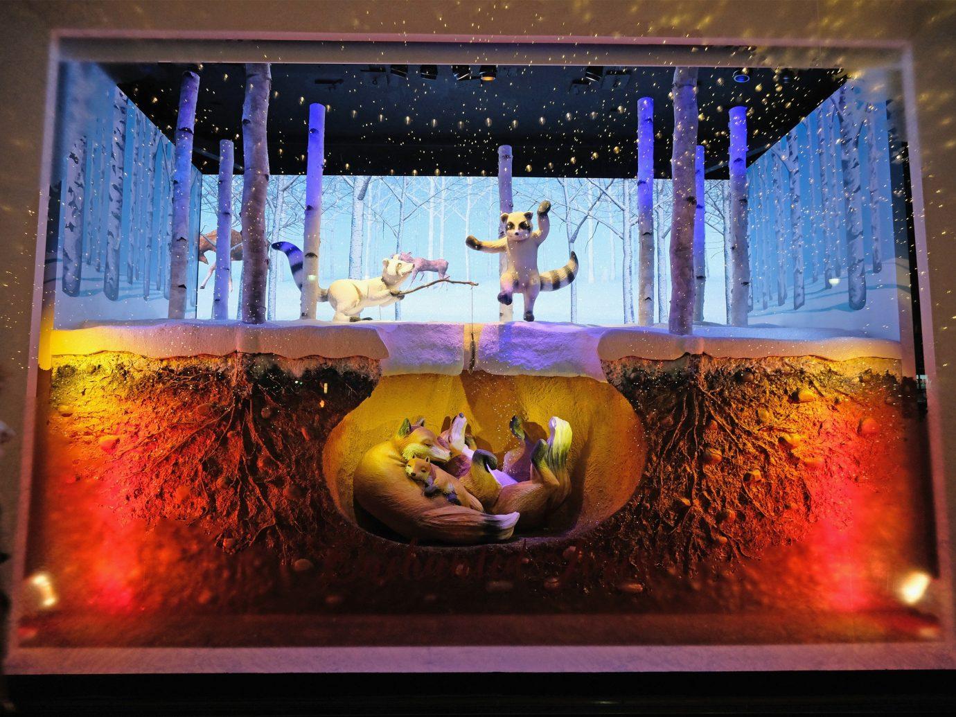 Trip Ideas color indoor light display window lit lighting stage interior design display device glass modern art dark